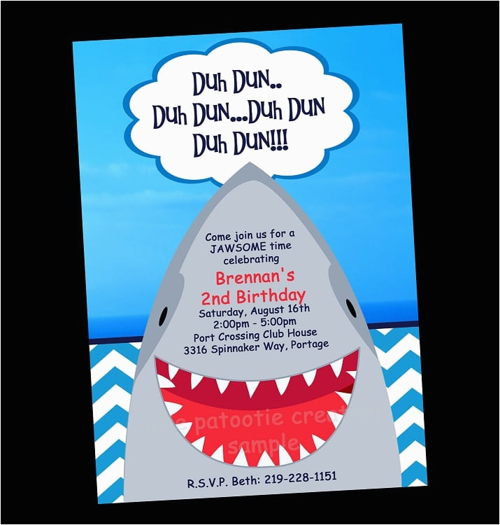 free printable shark invitation