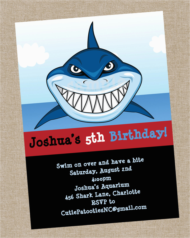 shark birthday invitation printable or