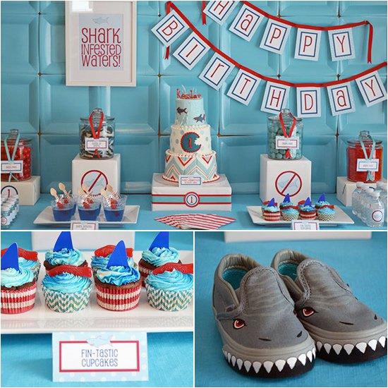 shark themed birthday party 31076207
