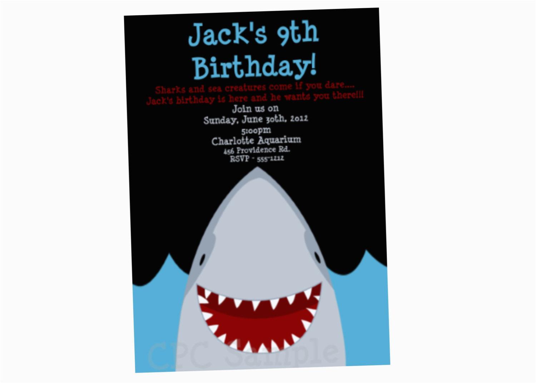 shark birthday invitation shark party