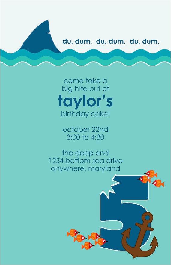 shark week birthday party invitation diy