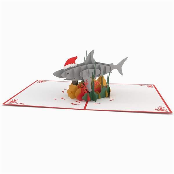 christmas shark 3d pop up holiday card lovepop