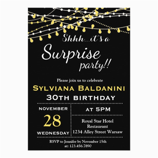 Shhh Birthday Invitations Shhh Its A Surprise Party Birthday Invitation Zazzle Com