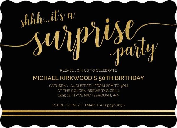 Shhh Surprise Birthday Invitations Its A 50th Invitation