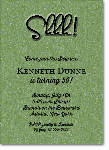Shhh Surprise Birthday Invitations Shimmery Green 39 Party