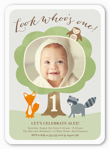 look whoos one birthday invitation 5x7 flat