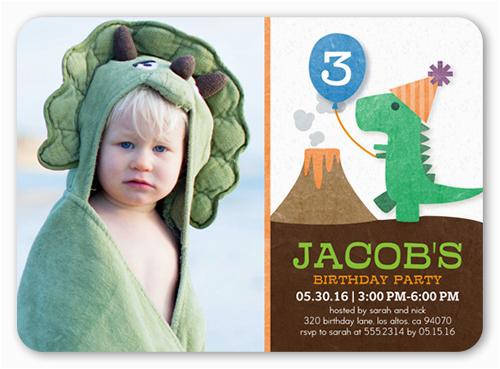 party dinosaur birthday invitation 5x7 flat