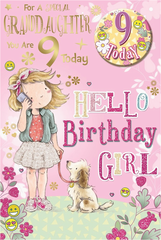 granddaughter 9th birthday card badge 9 today girl puppy mobile 9 x 6 6257