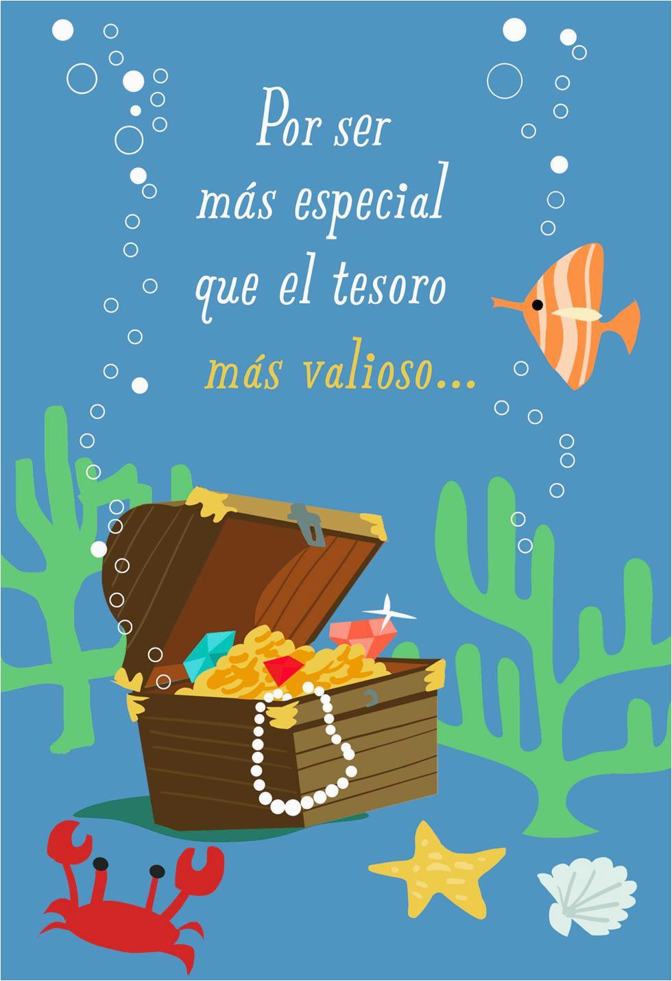 Treasure Chest Spanish Language Musical Birthday Card