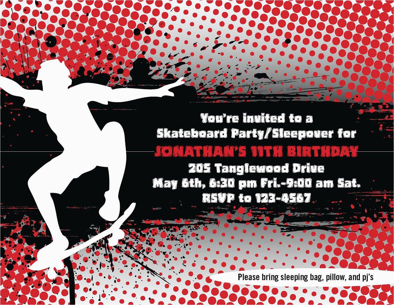 skateboard invites printable