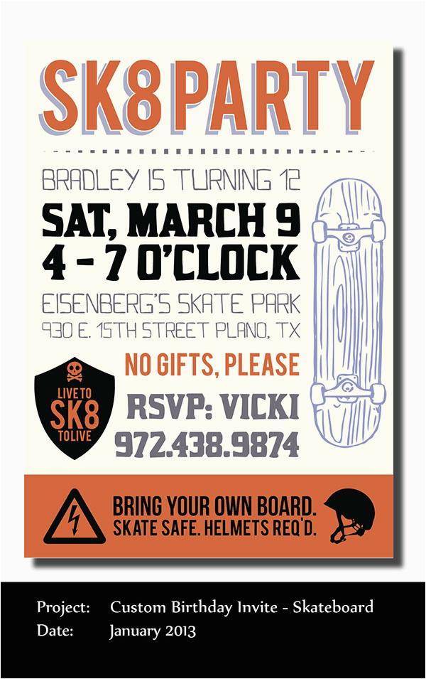 skateboard themed birthday party invite