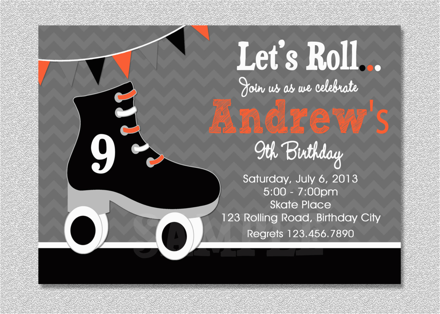 Skating Rink Birthday Party Invitations Boys Skating Birthday Invitation Boys Roller Skating