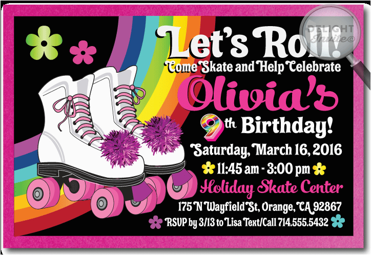 lets go skating rollerskate birthday invitation p 1486