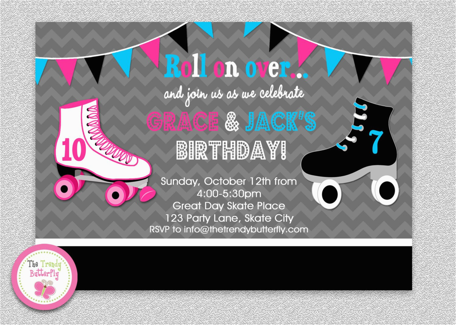 Skating Rink Birthday Party Invitations Siblings Roller Invitation By