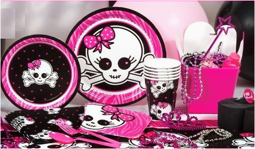 pink skull zebra party supplies