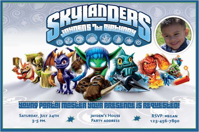 Skylanders Game Inspired Birthday Invitations