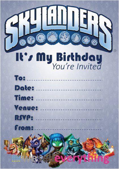 Skylanders Party Invitation 39 S Kid Children Invites