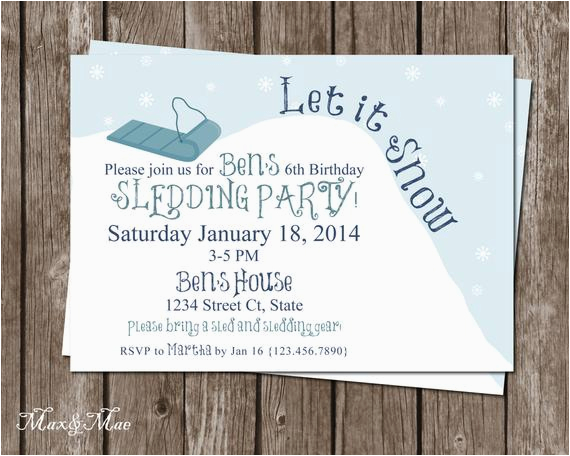 Sledding Birthday Party Invitations Sledding Birthday Invitation Let It Snow Birthday Party