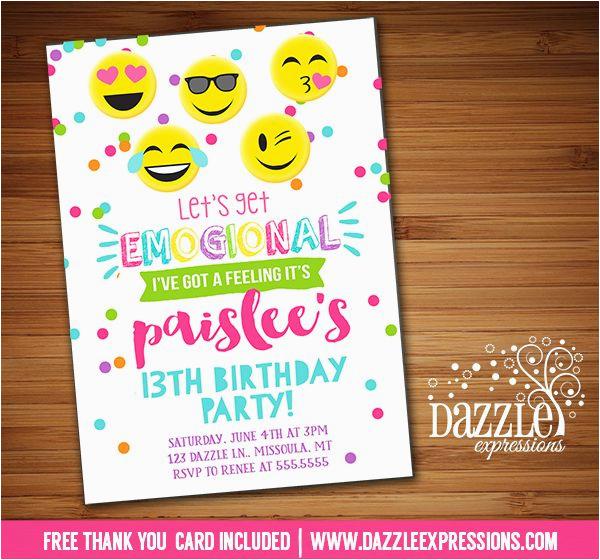 graphic relating to Emoji Invitations Printable identified as Smiley Facial area Birthday Invites Printable Tween Emoji
