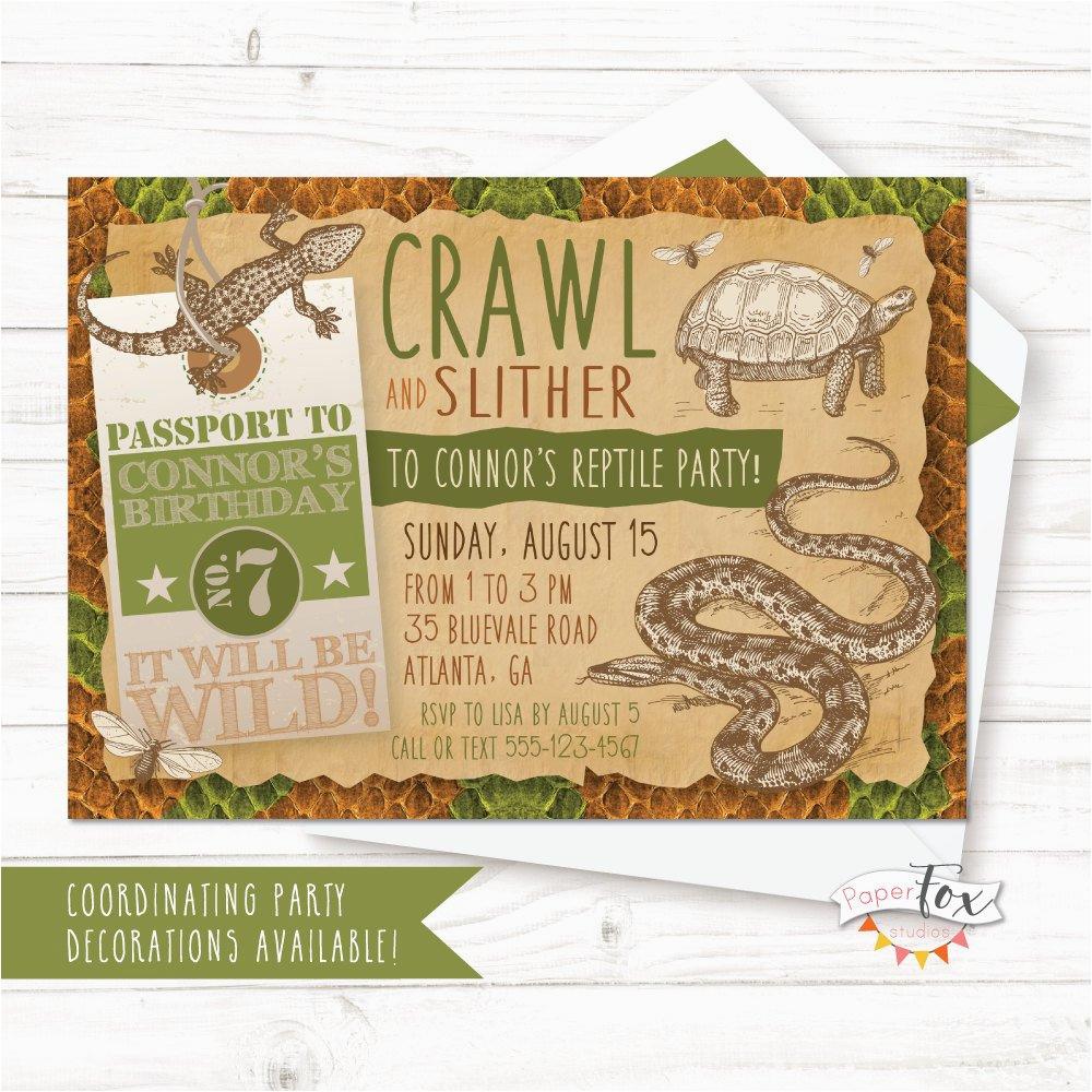 reptile birthday invitation reptile