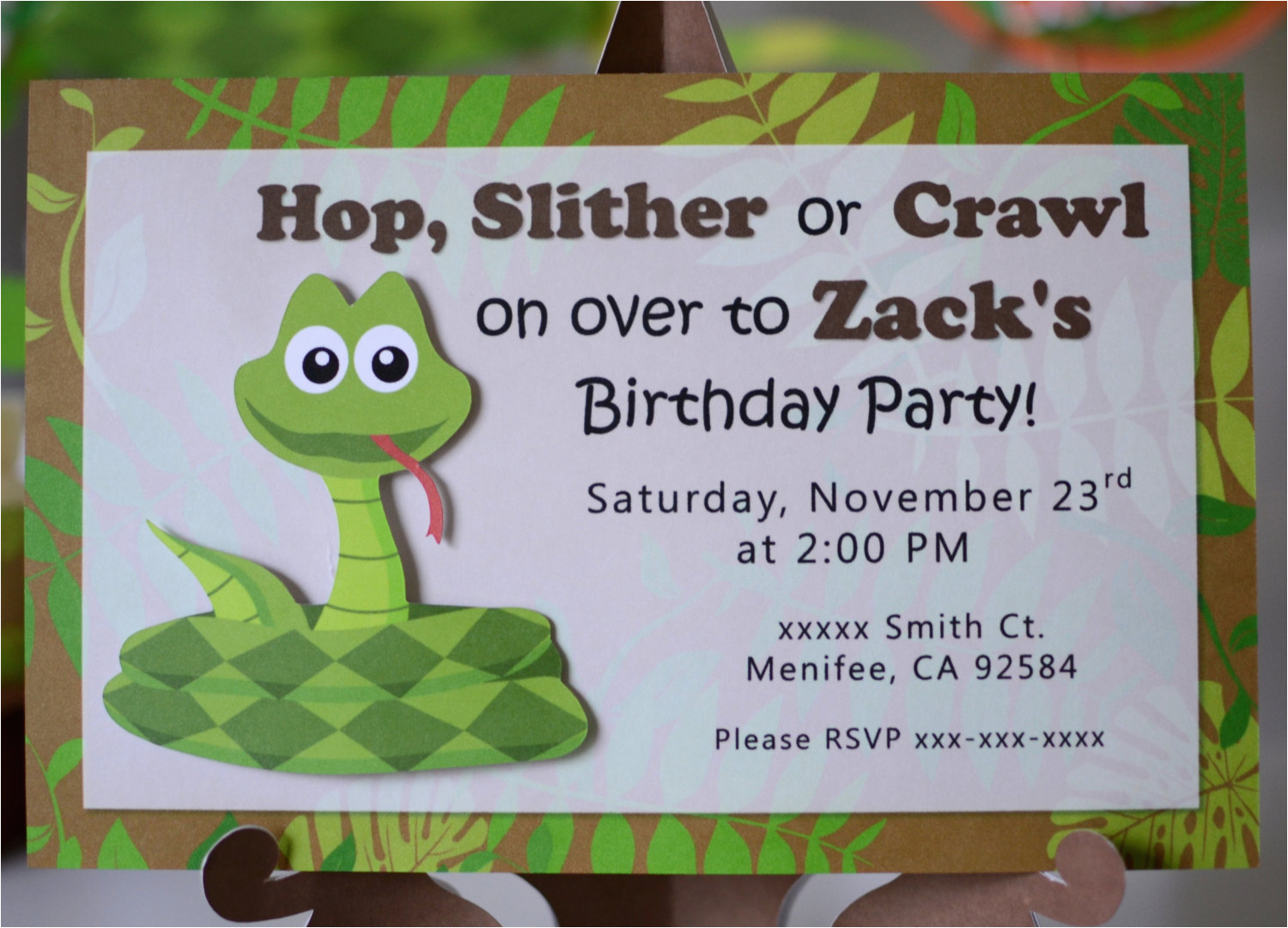 Snake Birthday Invitations Reptile Birthday Party Invitations Snake