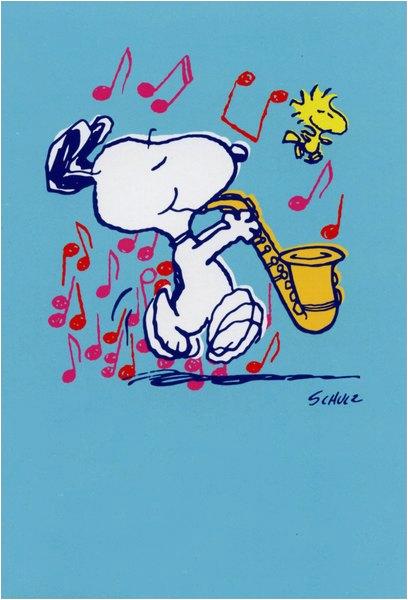 Snoopy Birthday Cards Free Playing Sax Sunrise Greetings Peanuts Blank Card