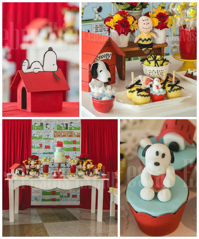 snoopy themed birthday party via karas party ideas karaspartyideas com15