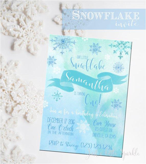 snowflake birthday invitation snowflake invitation printable