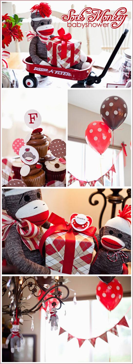 sock monkey baby shower birthday party ideas