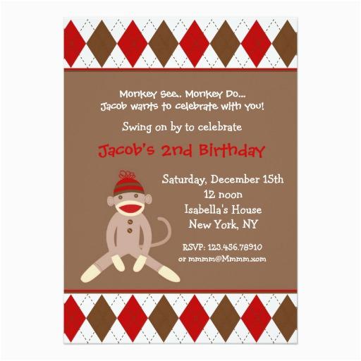 sock monkey birthday party invitations 161612943742687792