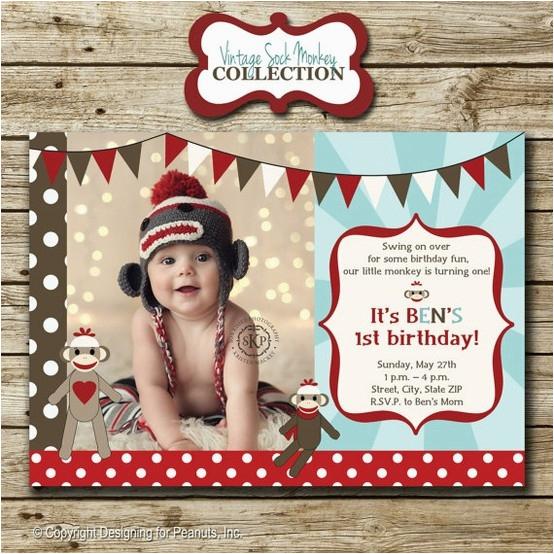 sock monkey birthday party photo invitation b