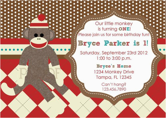 sock monkey custom birthday invitations