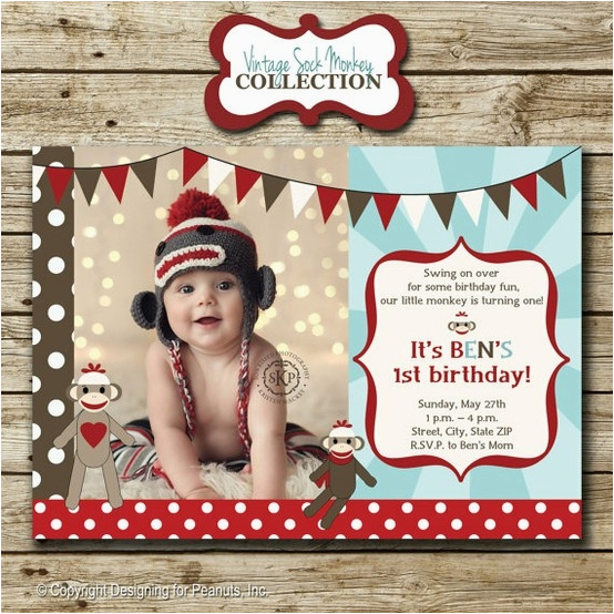 Sock Monkey Invitations 1st Birthday