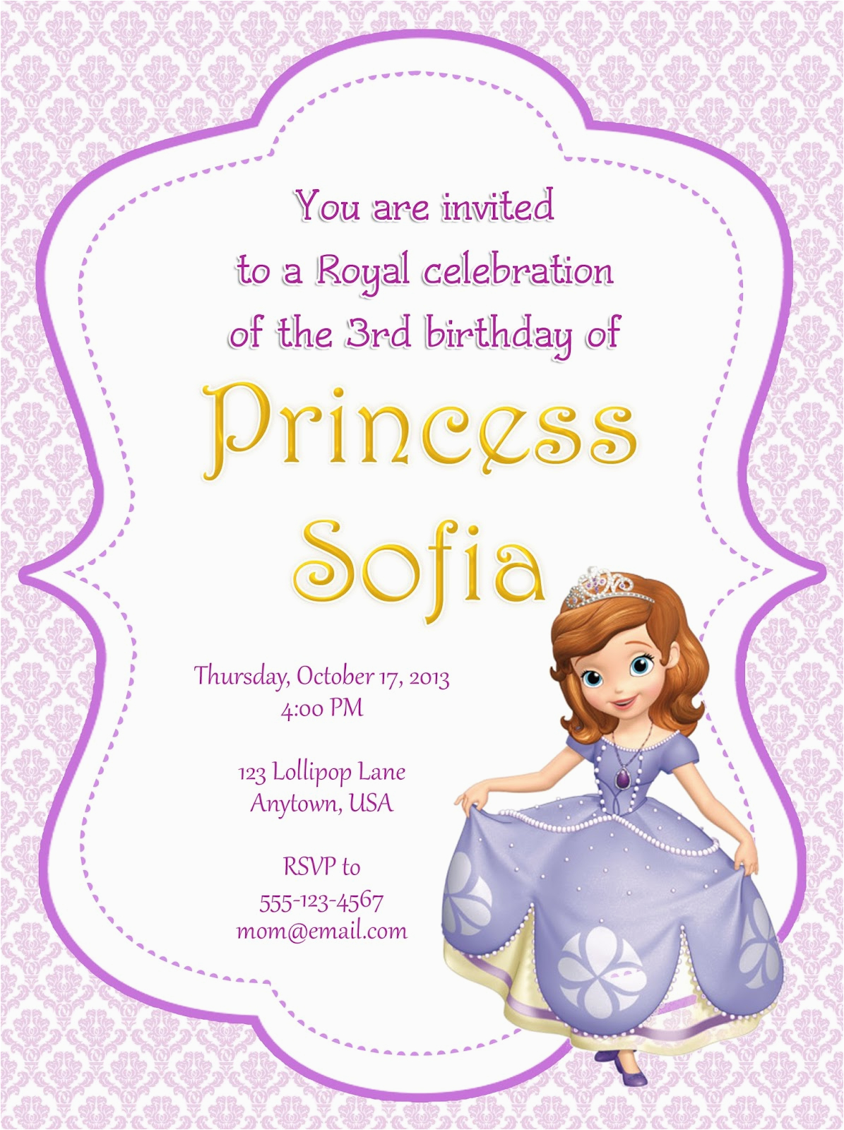 sofia the first party invitations for party invitation cards invitation card design in your invitation accompanied by attractive ornaments 1