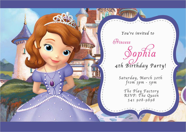 custom photo invitations disney sofia