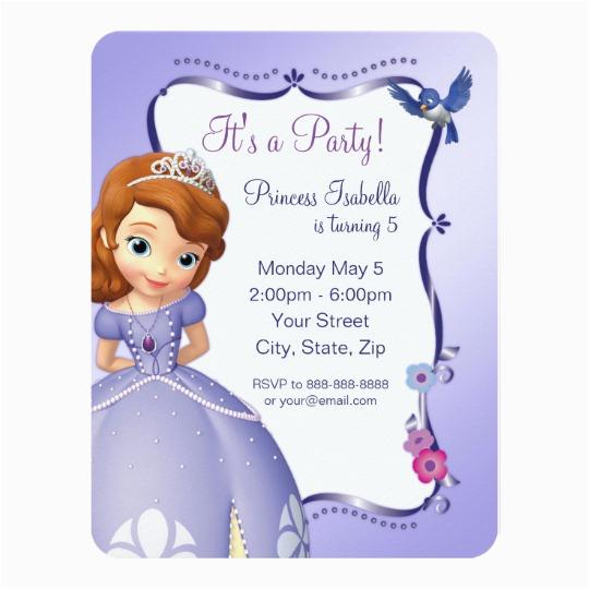 sofia the first birthday invitation 256435208712395859