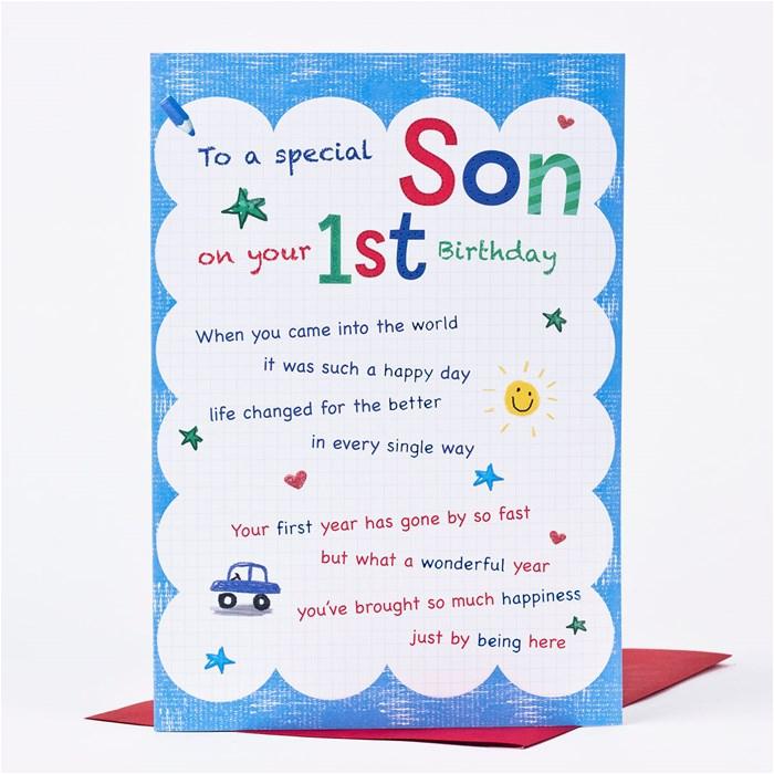 Son First Birthday Card Birthday Card son First Birthday Only 89p