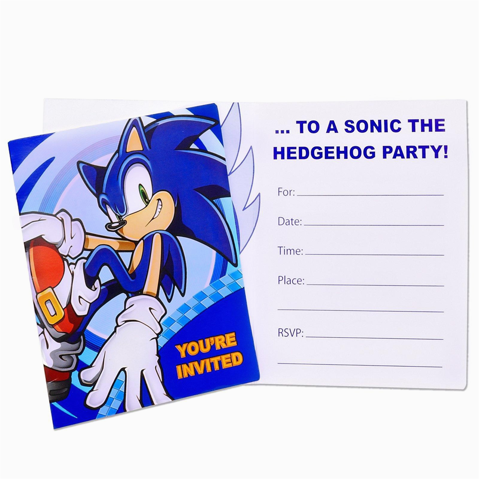 sonic the hedgehog invitations