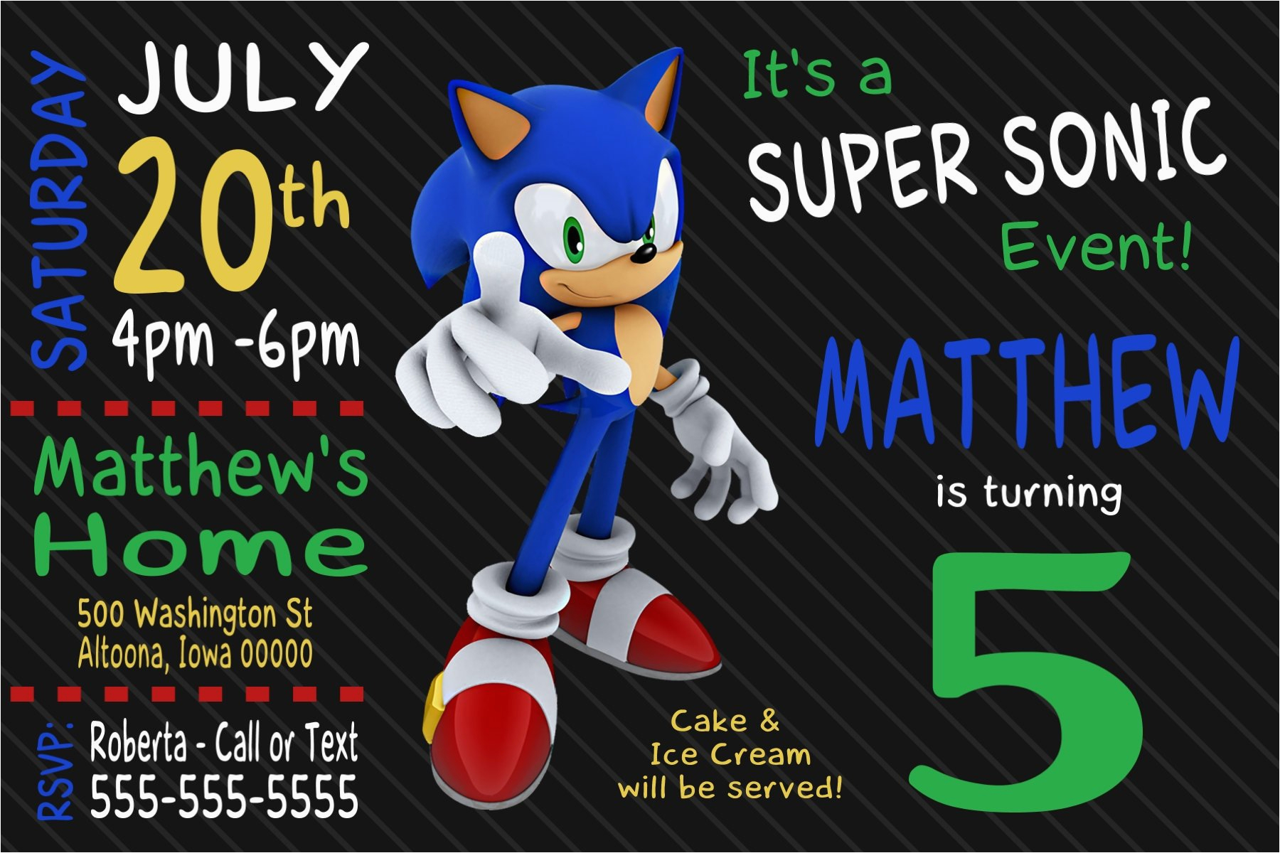 Sonic The Hedgehog Birthday Invitations Custom