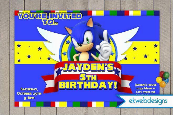 sonic the hedgehog birthday invitation