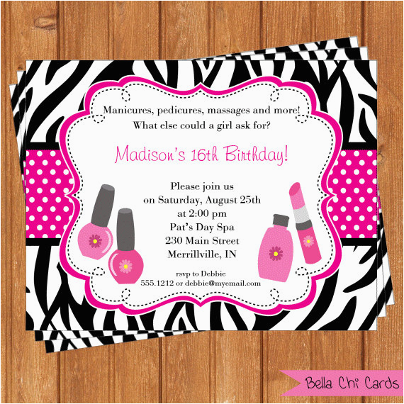 post spa party invitations printable and editable 361416