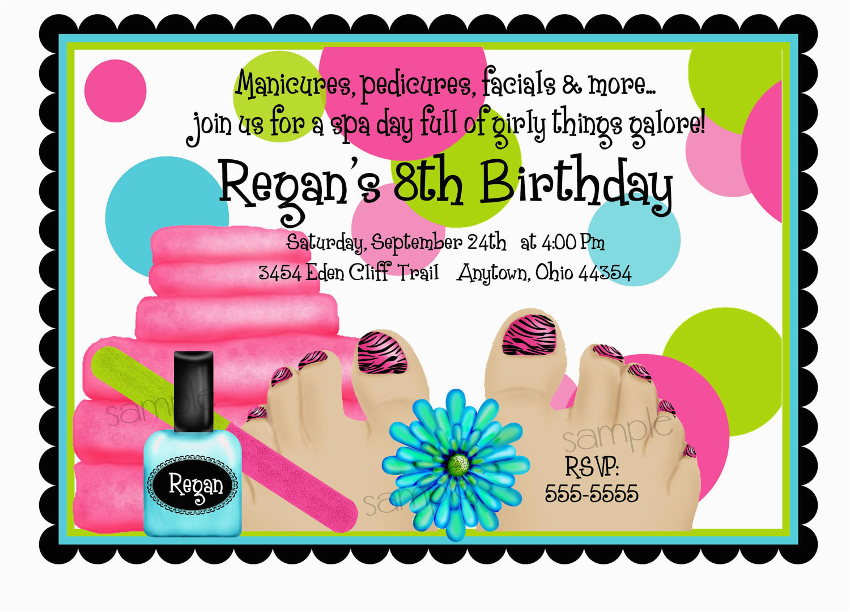 spa birthday party invitations spa party