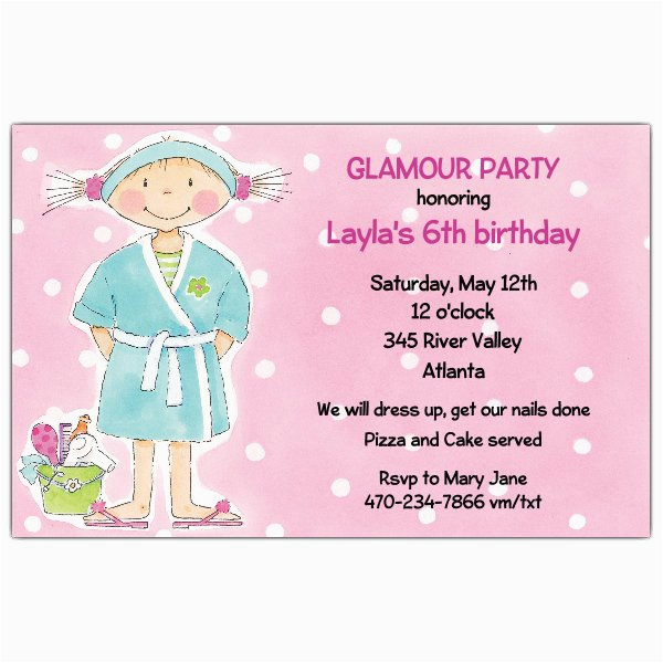 spa day birthday party invitations p 612 85 d34