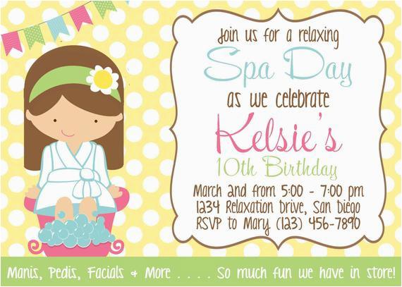 spa day invitation girl birthday party