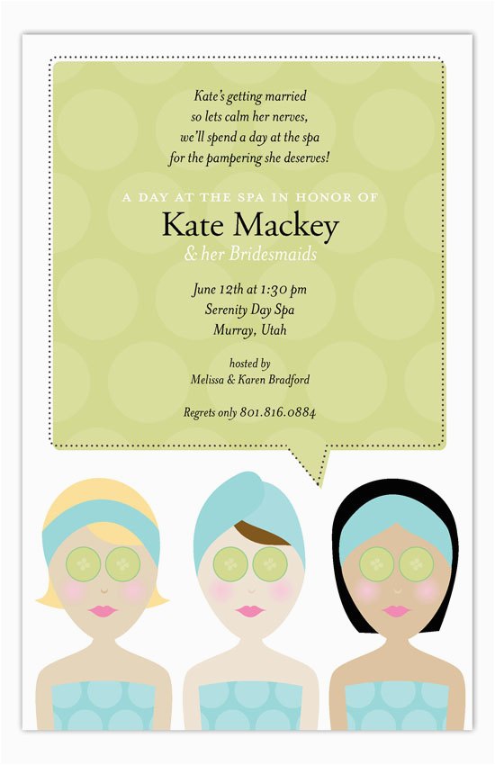 Spa Day Birthday Invitations Spa Day Invitation Polka Dot Invitations