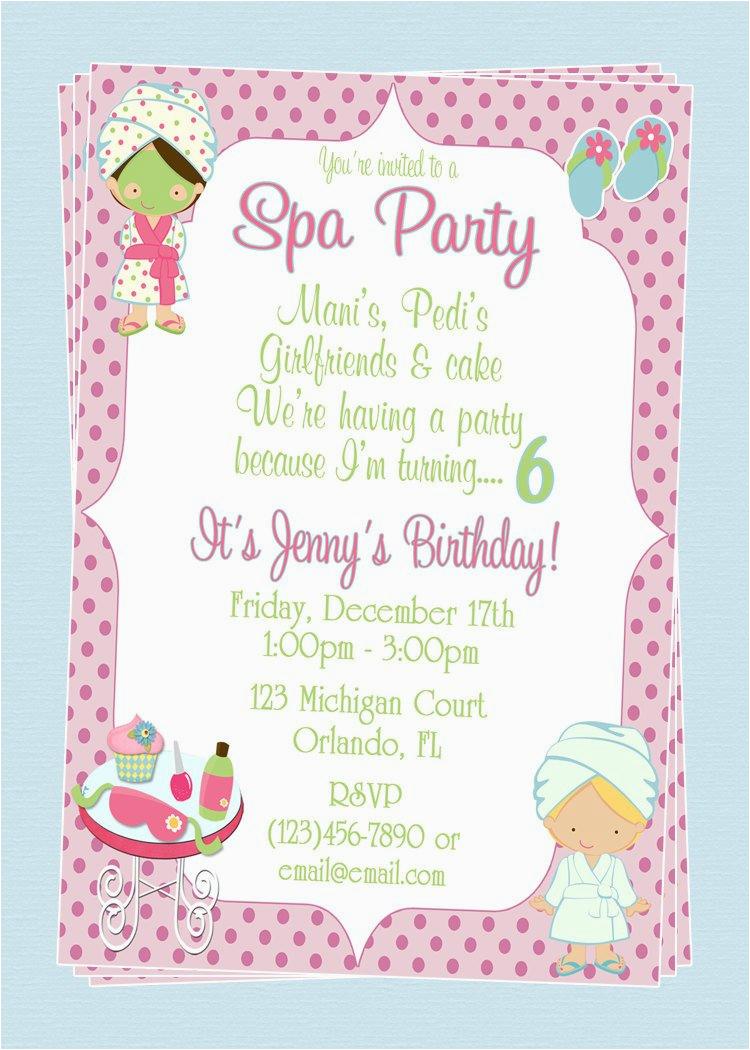 custom spa themed birthday party