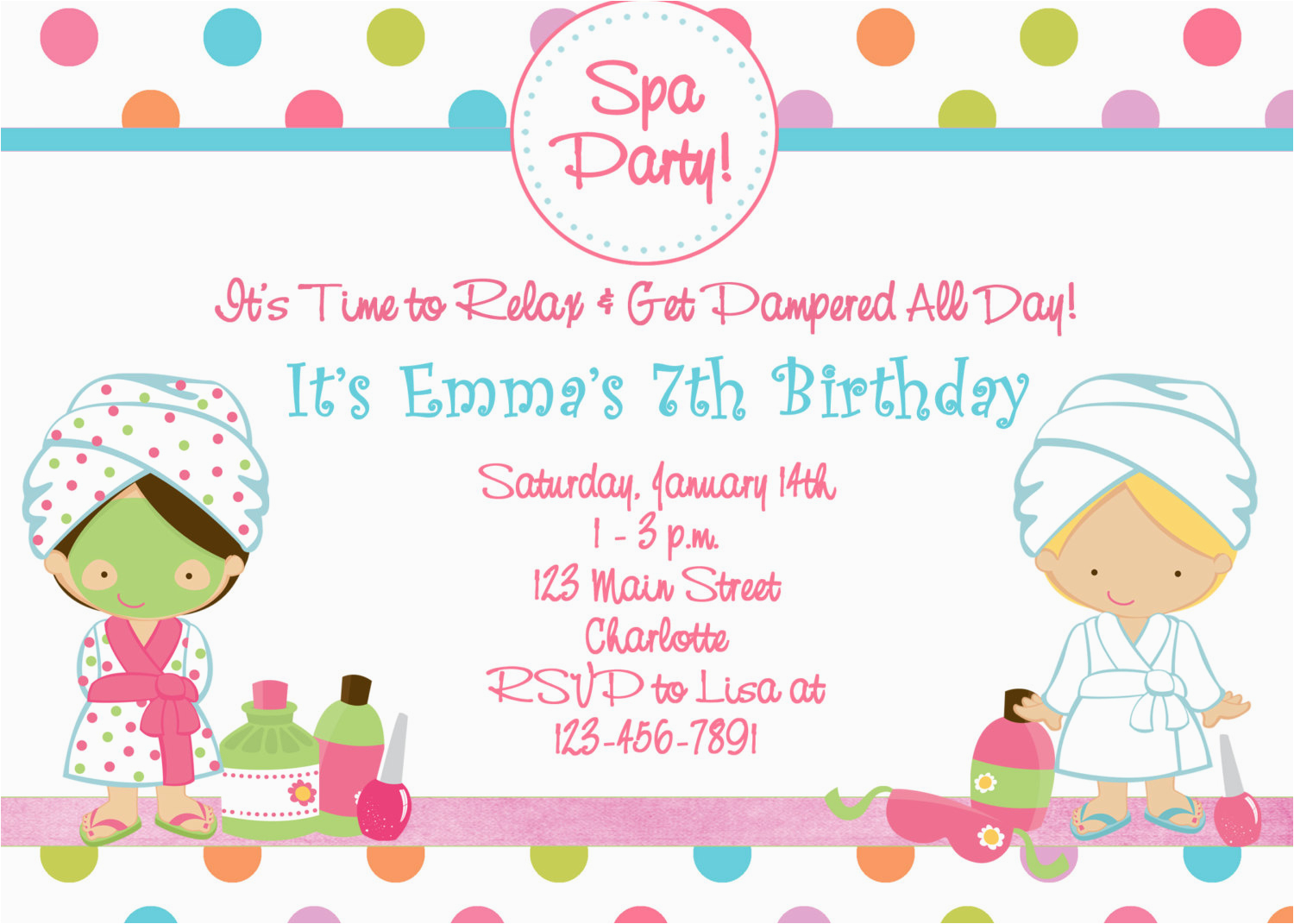 Spa Themed Birthday Party Invitations Printable Free Pool