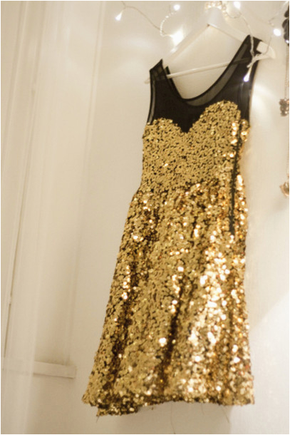 dress glitter gold sequins mesh fancy sparkle