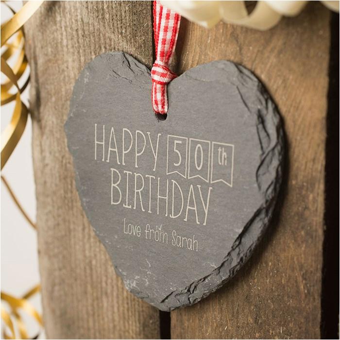 engraved heart shaped slate hanging keepsake happy 50th
