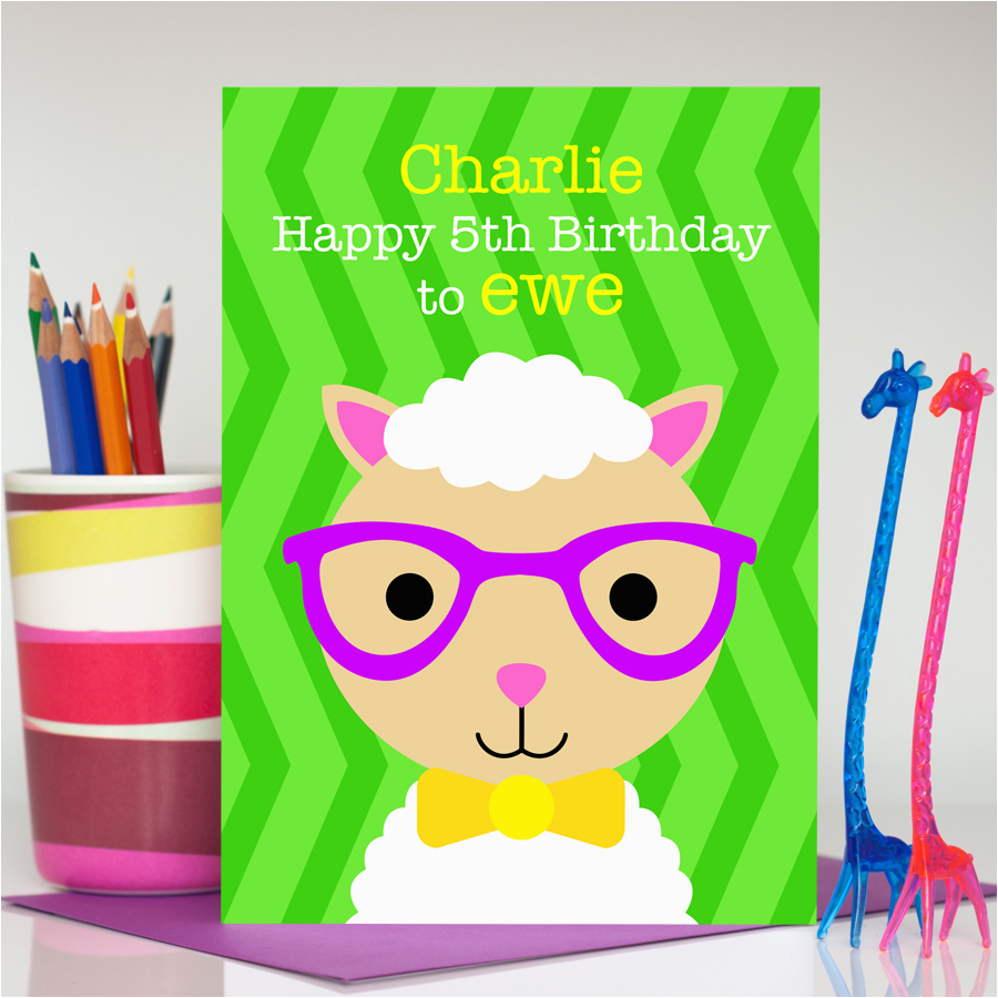 boy sheep birthday card spencer the sheep